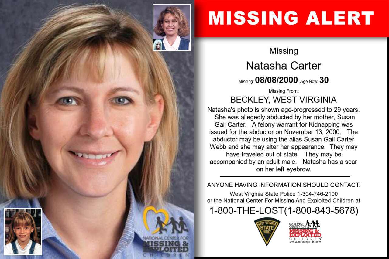 WV - NATASHA CARTER: Missing from Beckley, WV - 8 August 2000 - Age